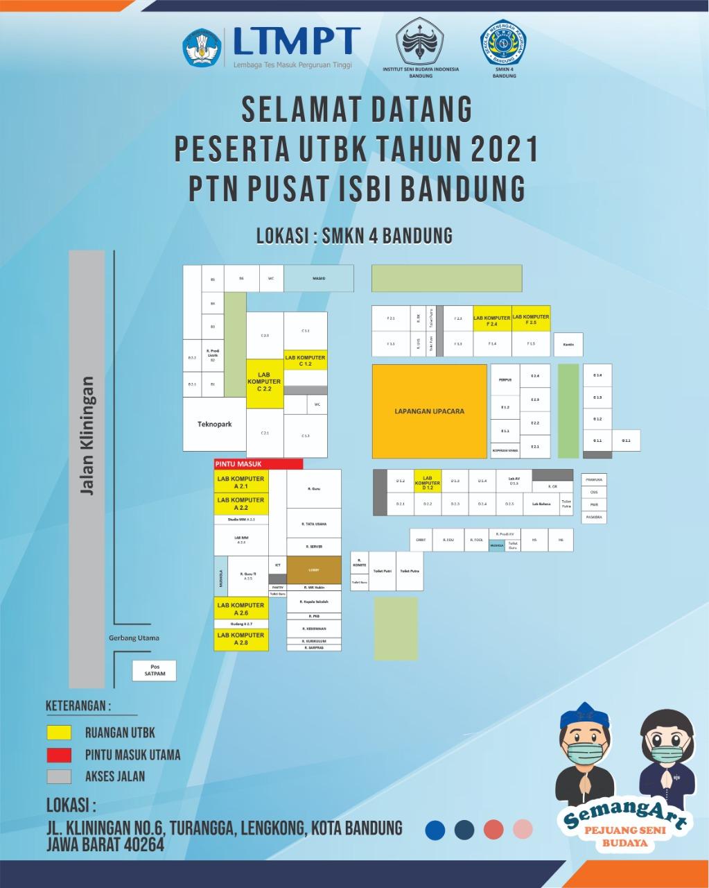 Denah Ruang UTBK 2021 di SMK Negeri 4 Bandung
