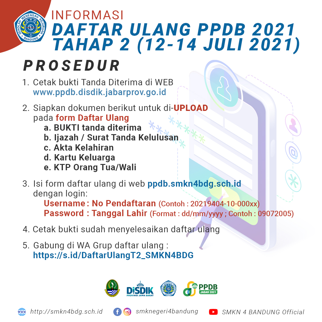 Daftar Ulang SMKN 4 Bandung Tahun 2021 Tahap 2